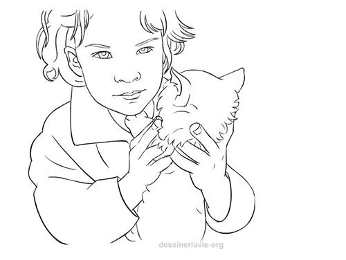 Petite fille avec chaton dessiner la vie - Des dessin de fille ...