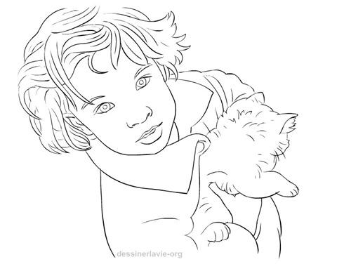 petite fille avec chaton