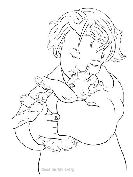Coloriage Fille Avec Chat.Petite Fille Avec Chaton Dessiner La Vie