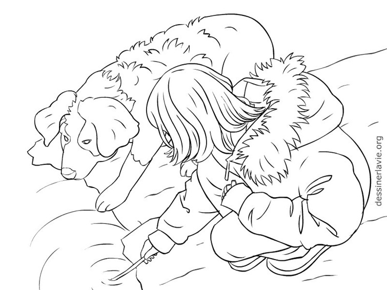 Fille et chien dessiner la vie - Dessin de jeune fille ...