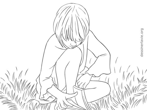 Dessin d un enfant en train de lire dans l herbe - Comment dessiner un train ...