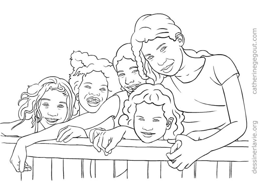 Colorier des images d enfants du br sil dessiner la vie - Dessin groupe d enfants ...