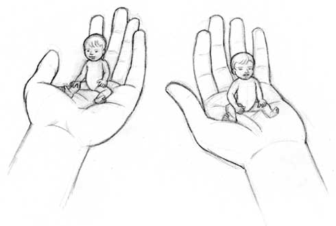 Dessiner un b b dans une main dessiner la vie - Dessin de mains ...