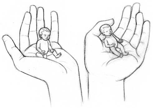 Dessiner un b b dans une main dessiner la vie - Dessin de la main ...